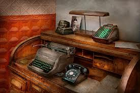painting of desk with typewriter and rotary phone
